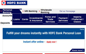 HDFC Bank Main Page